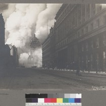 [Market Street, looking northeast toward burning Call Building from near Powell St. ...