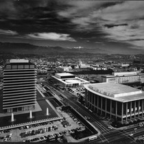 Birdseye view of Dorothy Chandler Pavilion and Mark Taper Forum, Los Angeles, ...