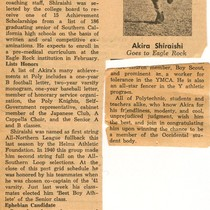 """Akira Shiraishi Receives Occidental Scholarship"" [excerpted from The Daily Optimist, January 22, ..."