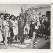 Mrs. Eleanor Roosevelt, accompanied by Dillon Myer, National Director of the War ...