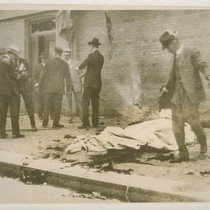 [Bomb explosion site. Corner of Steuart and Market Streets, San Francisco. During ...