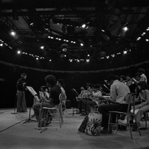 CAA orchestra on a round stage - side view