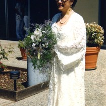 Patricia Whiting walking to the alter