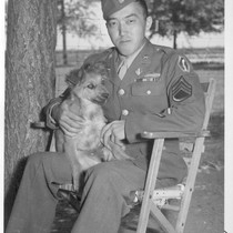 S/Sgt. Tatsumi Iwate, a Japanese American Infantryman, who bears a piece of ...