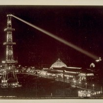 Electric Tower at Night, with Search Light on Prayer Book Cross in ...