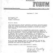 Alfred Coodley letter to Eric Berne, 1966-09-01