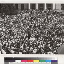 View of students in Sproul Plaza surrounding police car, October 1, 1964. ...