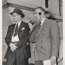 Bill Henry broadcasting the Roosevelt funeral procession, April 11, 1945