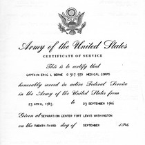 Army of the United States Certificate of Service for Eric Berne