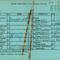 WPA block face card for household census (block 1148) in Los Angeles ...