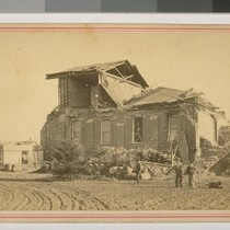 Court House at San Leandro. Earthquake. Oct. 21, 1868. [Duplicate of 13.]