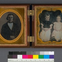 [James Otis Johnson and his two children.]
