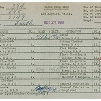 WPA bock face card for household census (block 2149) in Los Angeles ...