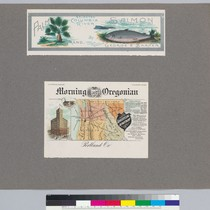 Album page with Morning Oregonian advertisement and Palm Brand Selected Columbia River ...