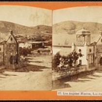 """17. Los Angeles Mission, Los Angeles."", stereoscopic photograph, circa 1872"