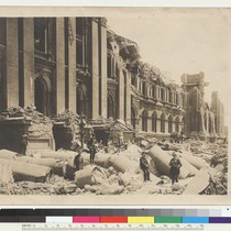 Fallen pillars of the City Hall. San Francisco. [Police officers posing among ...