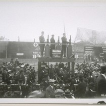 The Miles brothers: pictured on platform above crowd (Herbert, left)