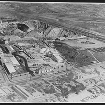 Aerial view of Blue Diamond Plaster Company, showing location of specific buildings, ...
