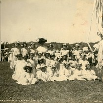 Group of young girls and their teacher in May Day finery, Kentfield ...