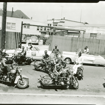 Berkeley Tigers Motorcycle Club parked in street