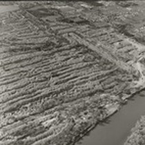 Aerial View of dredger tailings, Oroville Dam project. Dramatic view of extensive ...