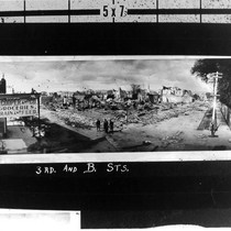 3rd and B Sts. view of the earthquake destruction, Santa Rosa