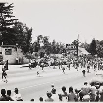 The 1948 Cherry Festival Parade, with the Beaumont Union High School Band