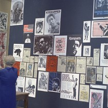 Posters from poster workshops on display at the University Art Museum