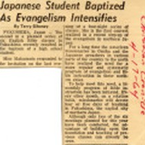 "Article titled ""Japanese Student Baptized As Evangelism Intensifies"""