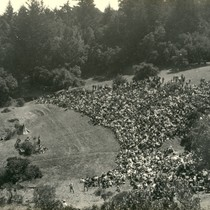 "Audience at the Mountain Theatre watching the play ""Tamalpa,"" Mt. Tamalpais, California, ..."