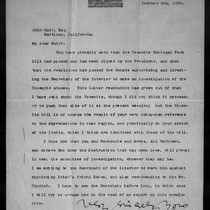 Letter from R[obert] U[nderwood] Johnson to John Muir, 1890 Oct 3