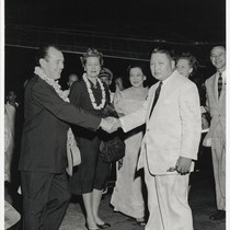 Alfred and Mrs. Wallenstein with President Magsaysay in Manila