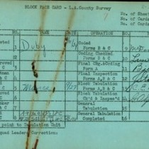 WPA block face card for household census (block 1132) in Los Angeles ...