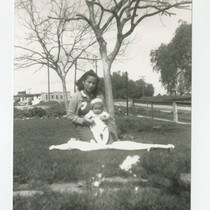 Carmen Cabral with Angel at their house, South Whittier, California