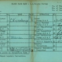 WPA block face card for household census (block 1130) in Los Angeles ...
