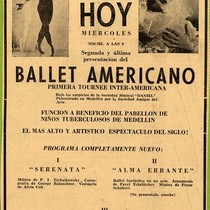 "Advertisement for American Ballet performance in the ""El Colombiano"""
