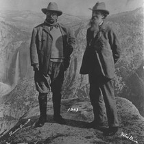 Theodore Roosevelt and John Muir at Glacier Point, 1903