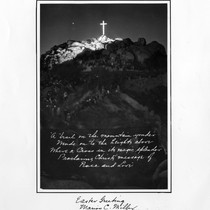 Greeting card of Mount Rubidoux on Easter Sunday, from/for Marion C. Miller