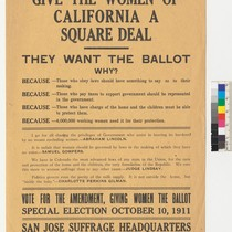 """Give the Women of California a Square Deal: They want the Ballot,"" ..."