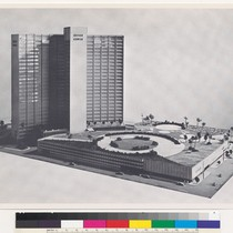 Architectural model of Kaiser Center with rooftop garden, Oakland
