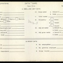 WPA Low income housing area survey data card 119, serial 4666, vacant