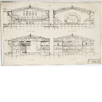 Building plan for the Oakland Municipal Auditorium showing four cross sections, circa ...