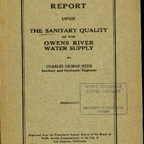 Report upon the sanitary quality of the Owens River water supply delivered ...