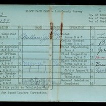 WPA block face card for household census of 115th Street, in Los ...