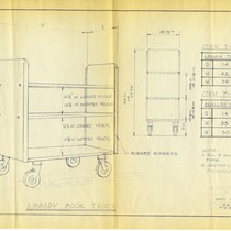 Technical drawing of library book truck