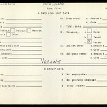 WPA Low income housing area survey data card 118, serial 13040, vacant
