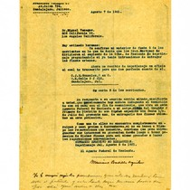 Letter from Francisco Venegas to Miguel Venegas, August 7, 1931