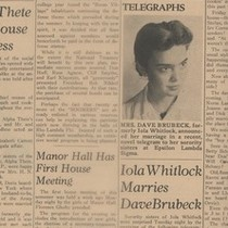 1942: Iola Brubeck in College of Pacific newspaper