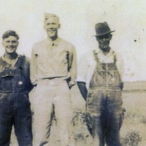 Earl R. Oatman in military uniform with Berna Ross and B. Ross ...