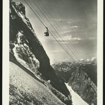 Aerial tramway in the snowy mountains, ca.1930